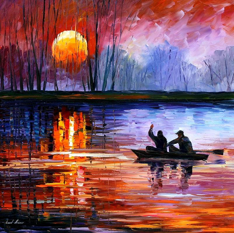 Seascape Painting - Fishing On The Lake  by Leonid Afremov