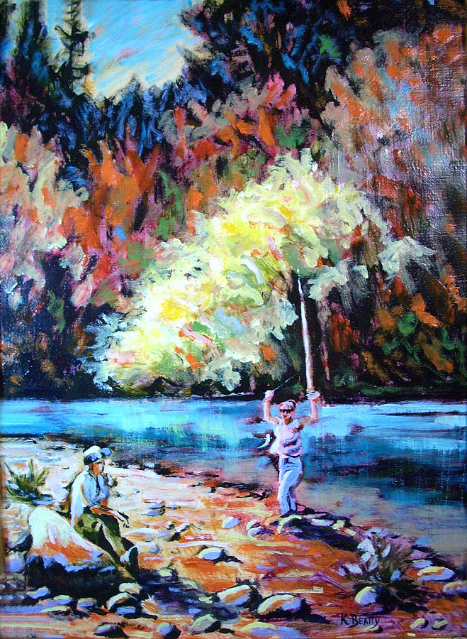 Landscape Painting - Fishing Painting Catch of the Day by Karla Beatty