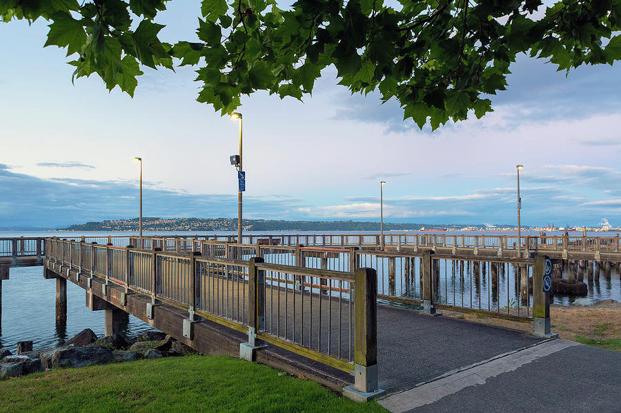 Tacoma Photograph - Fishing Pier along Waterfront in Tacoma by David Gn