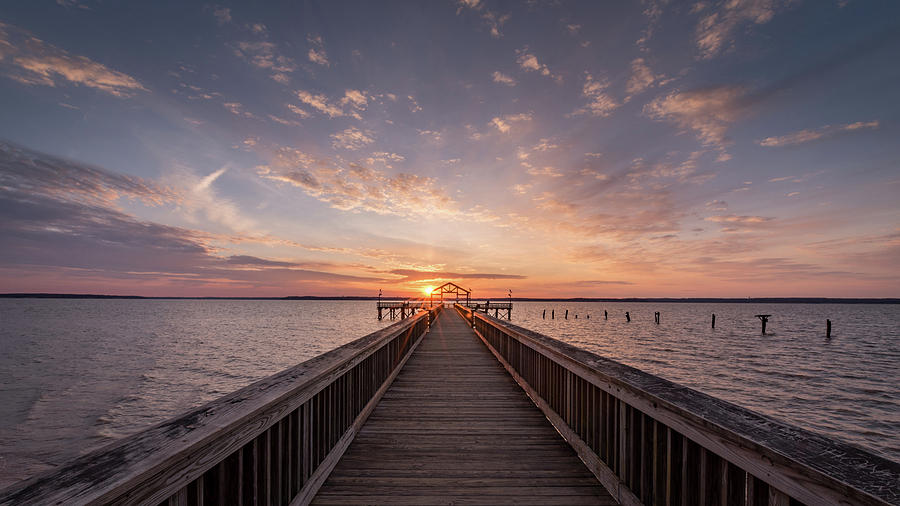 Alexandria Photograph - Fishing Pier Sunrise by Michael Donahue