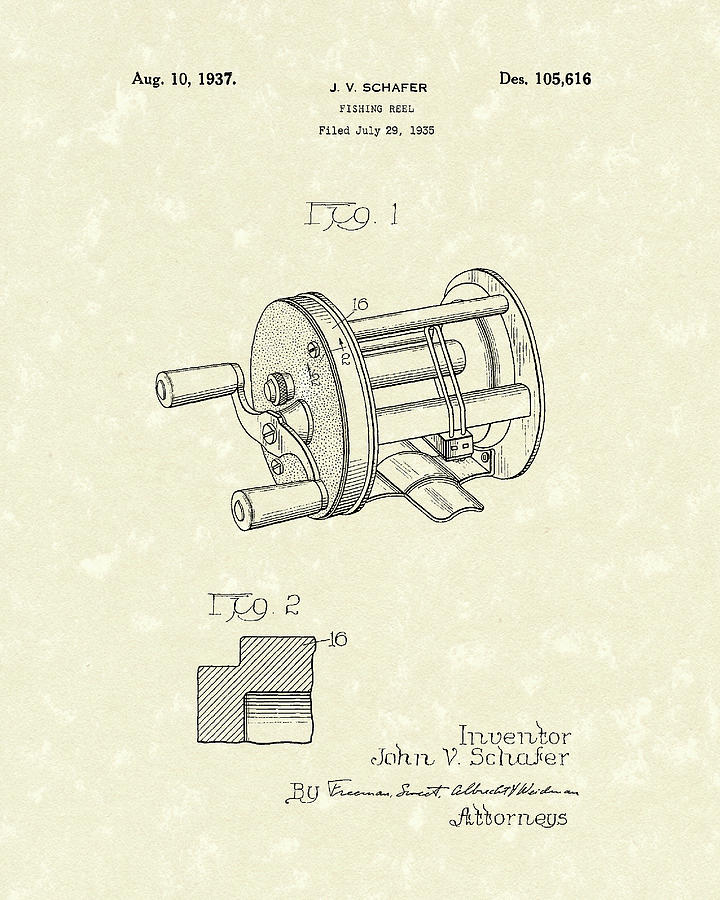 Fishing Drawing - Fishing Reel 1937 Patent Art by Prior Art Design