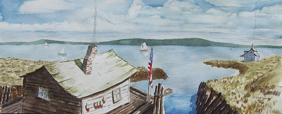 Puget Sound Painting - Fishing Shack With Old Glory by Robert Thomaston