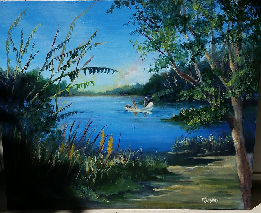 Water Painting - Fishing The River by Colleen Quigley