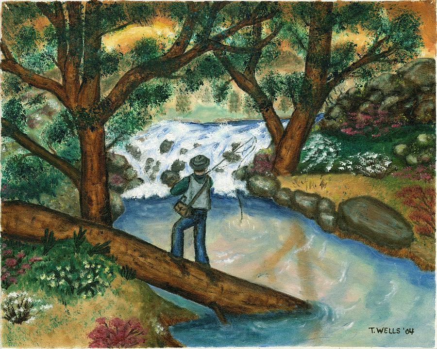 Fishing The Sunny River Painting by Tanna Lee M Wells