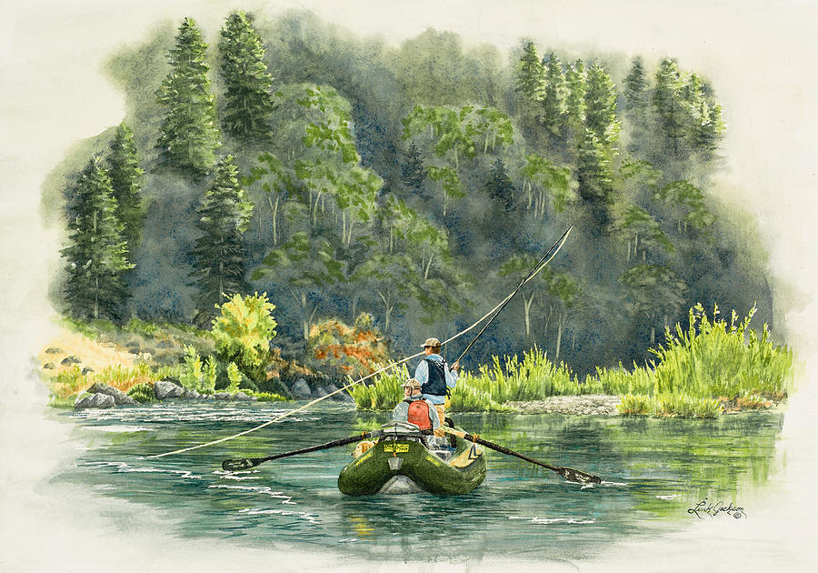 Fly Fishing Painting - October Morning Fishing The Trinity River by Link Jackson