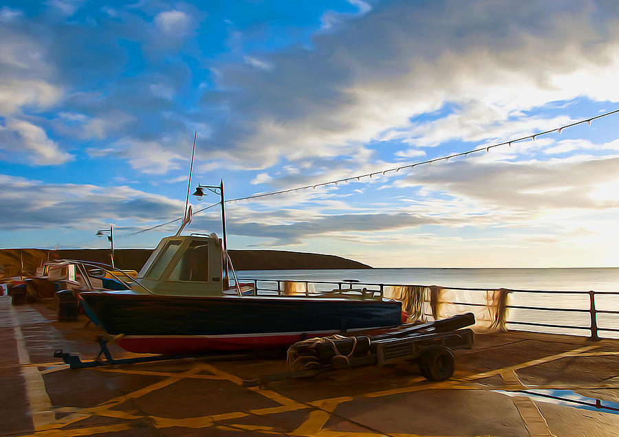 Aqua Digital Art - Fishing Village Filey by Svetlana Sewell