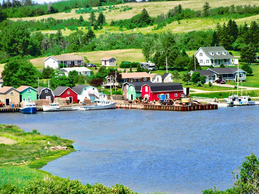 Fields Photograph - Fishing Village In Prince Edward Island by Stephanie Moore