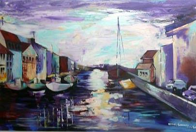 Fishing Painting - Fishing Village by Michael Echekoba