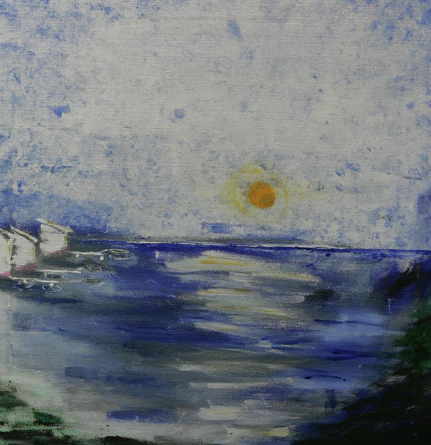 Ocean Painting - Fishing Village by Robin Lee