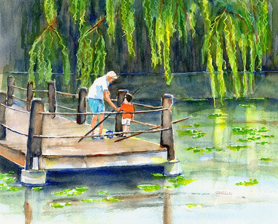 Fishing Painting - Fishing With Grandpa by Carlin Blahnik CarlinArtWatercolor