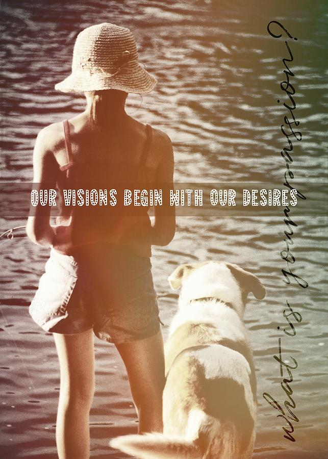 Dog Photograph - Fishing With The Pup Quote by JAMART Photography