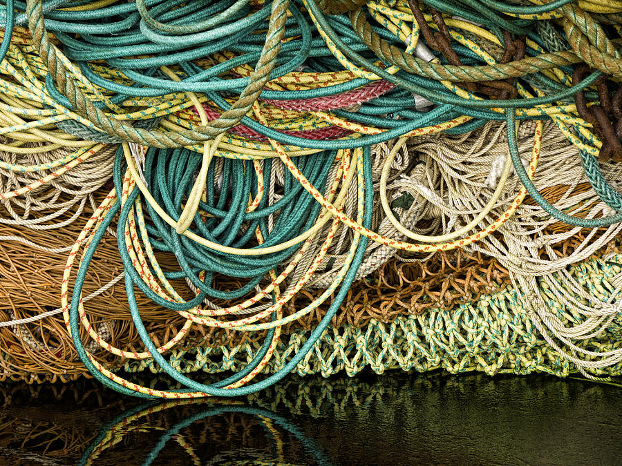 Fishing Photograph - Fishnets and Ropes by Carol Leigh