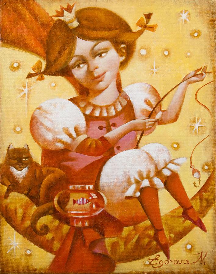 Cat Painting - Fisherwoman by Nadia Egorova