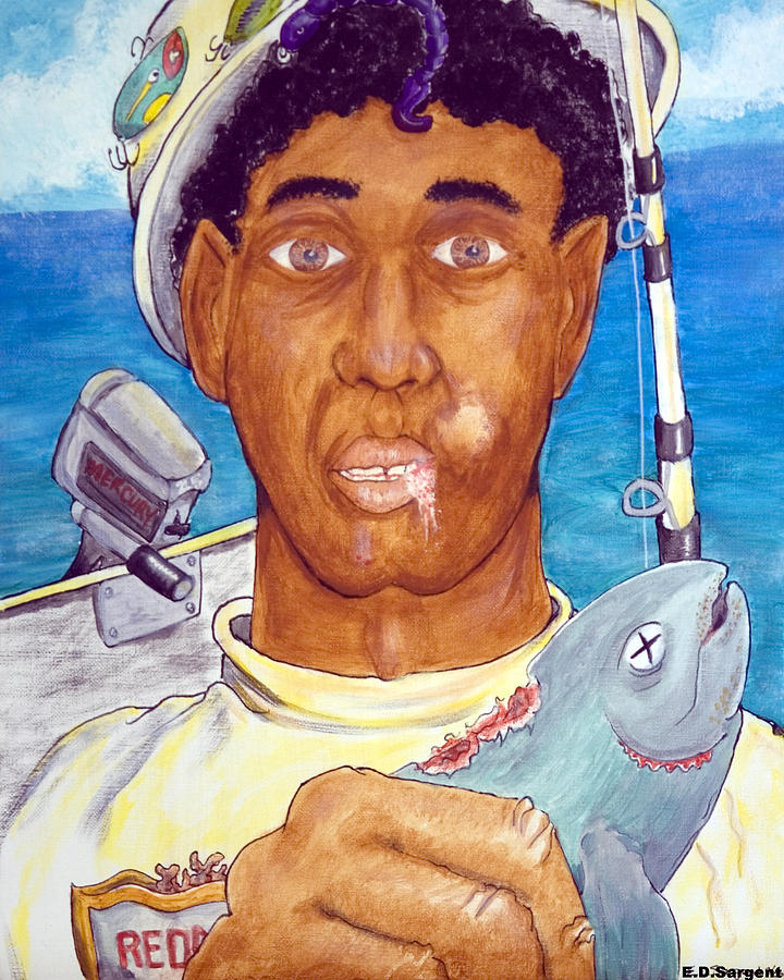 Fisherman Painting - Fishy Fred by Eddie Sargent