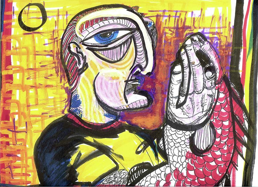 Rwjr Painting - Fishy Hands by Robert Wolverton Jr