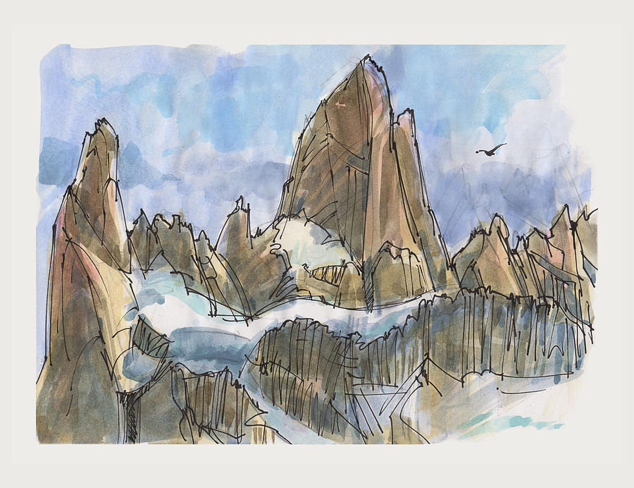 Fitz Roy, Patagonia Painting by Judith Kunzle