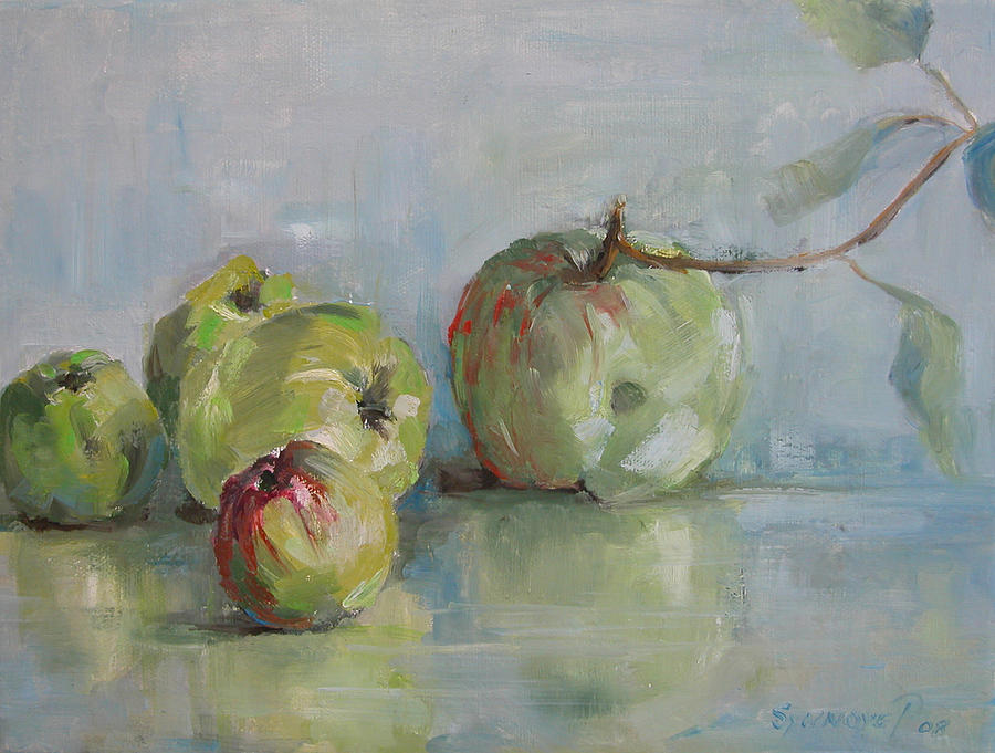 Apples Painting - Five Apples by Synnove Pettersen