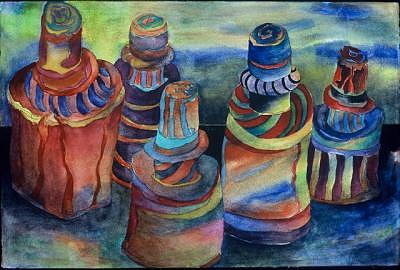 Orange Painting - Five Bottles by Judy Shantz Honey