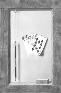 Still Life Drawing - Five Card Draw by Brian Duey