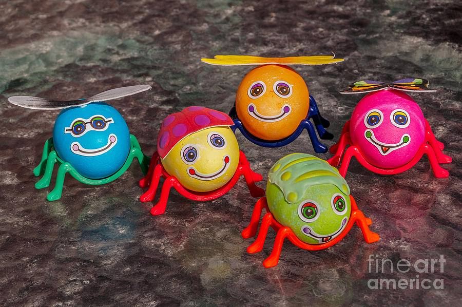 Easter Photograph - Five Easter Egg Bugs by Sue Smith