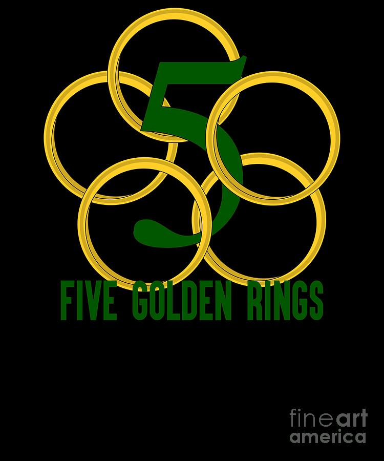 a0233ba2 Five Golden Rings Song 12 Days Christmas Numbers Green by Henry B