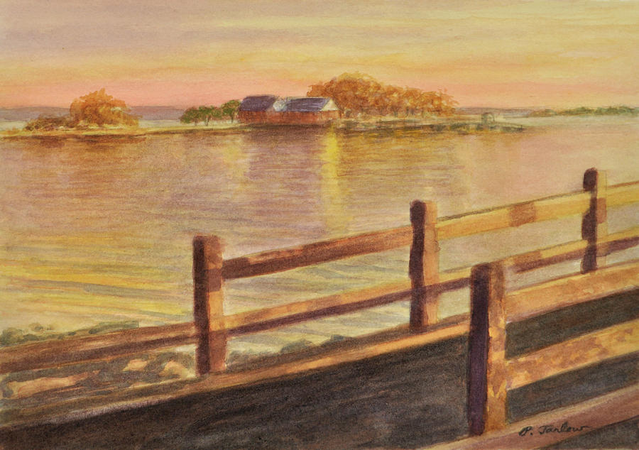 Landscape Painting - Five Islands Sunset by Phyllis Tarlow