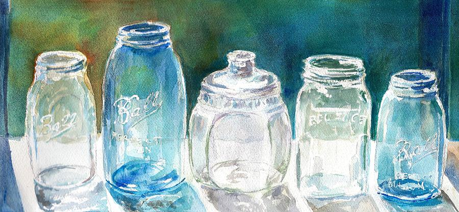 Mason Jars Painting - Five Jars In Window by Sukey Watson