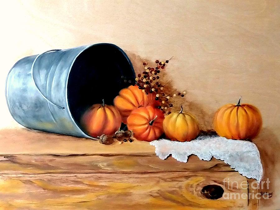 Still Life Painting - Five Little Pumpkins by Patricia Lang