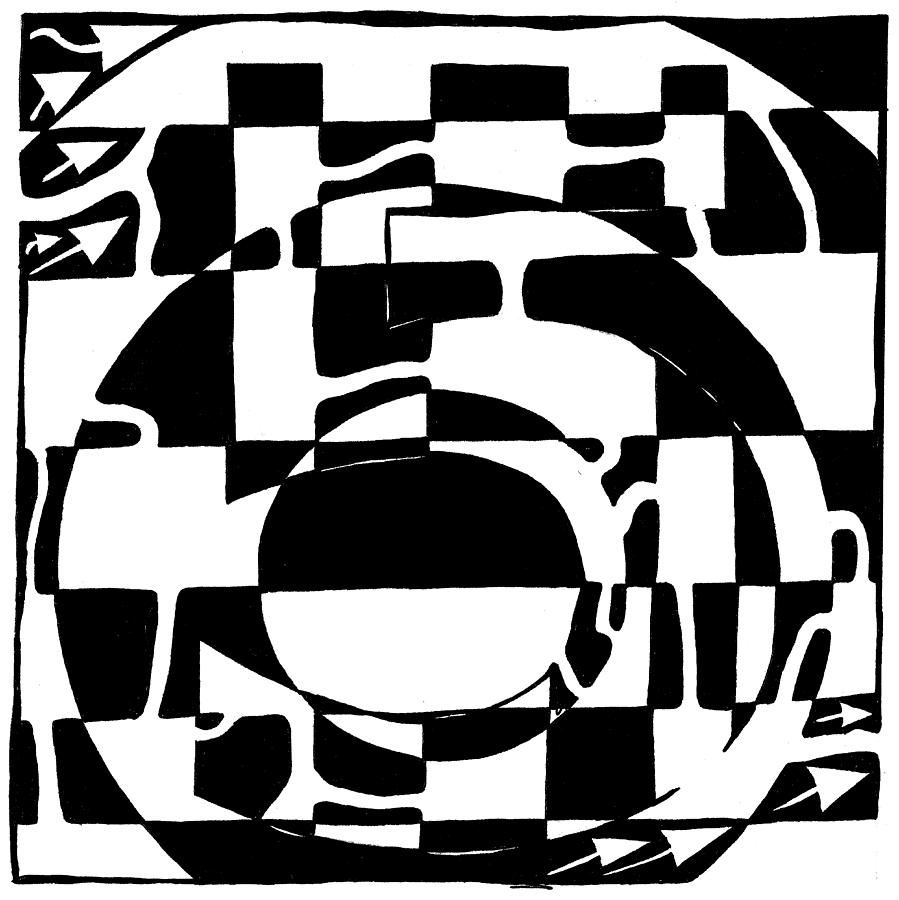 Maze Drawing - Five Maze by Yonatan Frimer Maze Artist