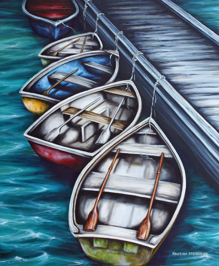 Boats Painting - Five Rowboats by Kristina Steinbring