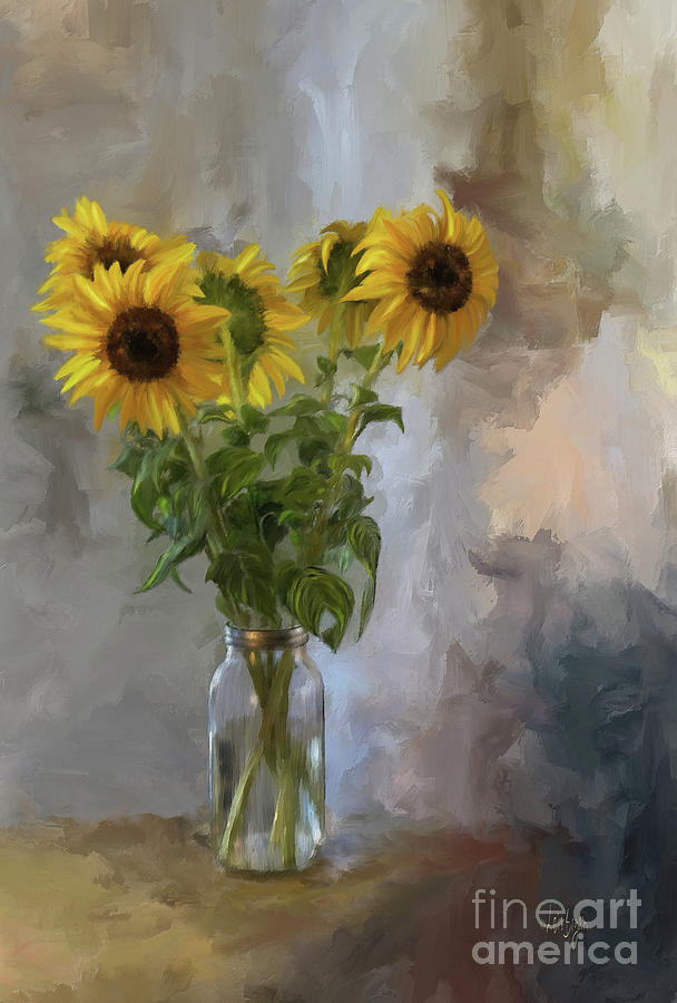 Sunflower Digital Art - Five Sunflowers by Lois Bryan