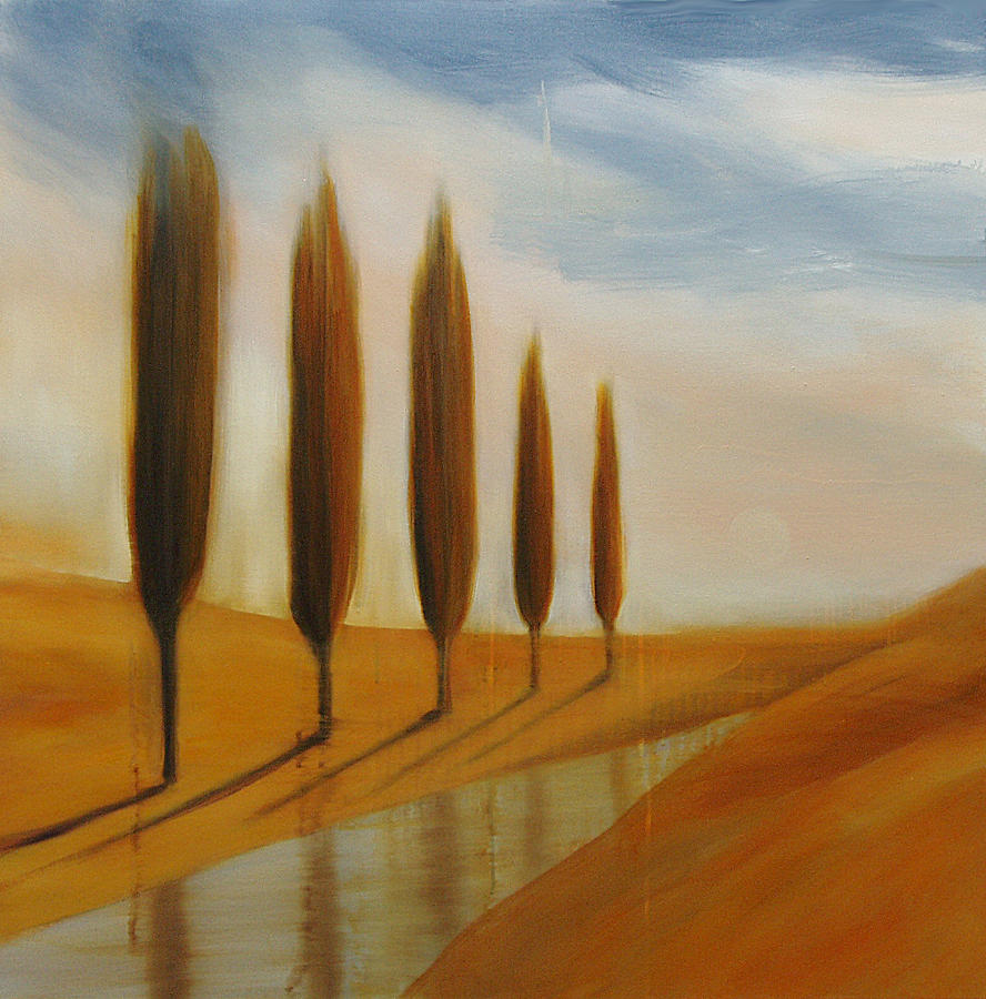 Imaginary Landscape Painting - Five Trees And Stream by Anne Bradford