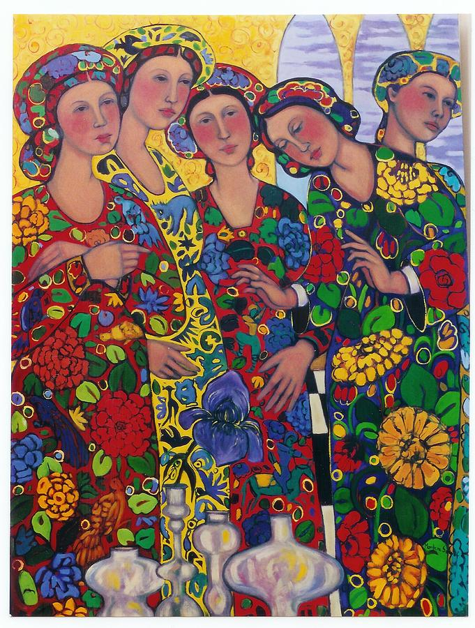 Five Women And The Iris Painting by Marilene Sawaf