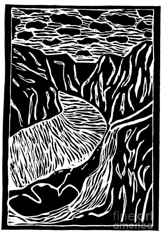 Fjord Painting - Fjord Norway - limited edition linocut print by Sascha Meyer