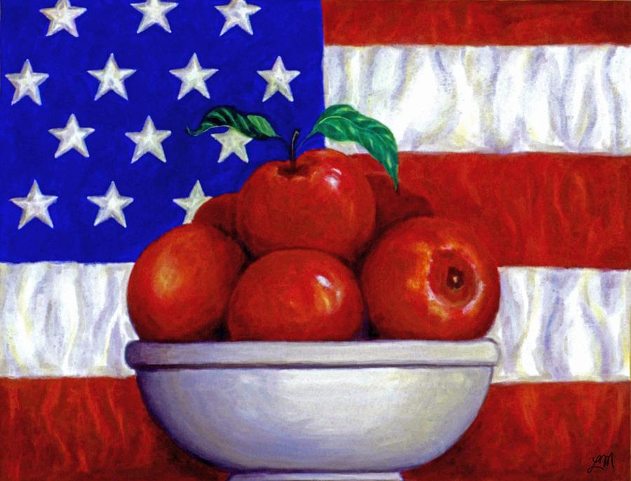 American Flag Painting - Flag And Apples by Linda Mears