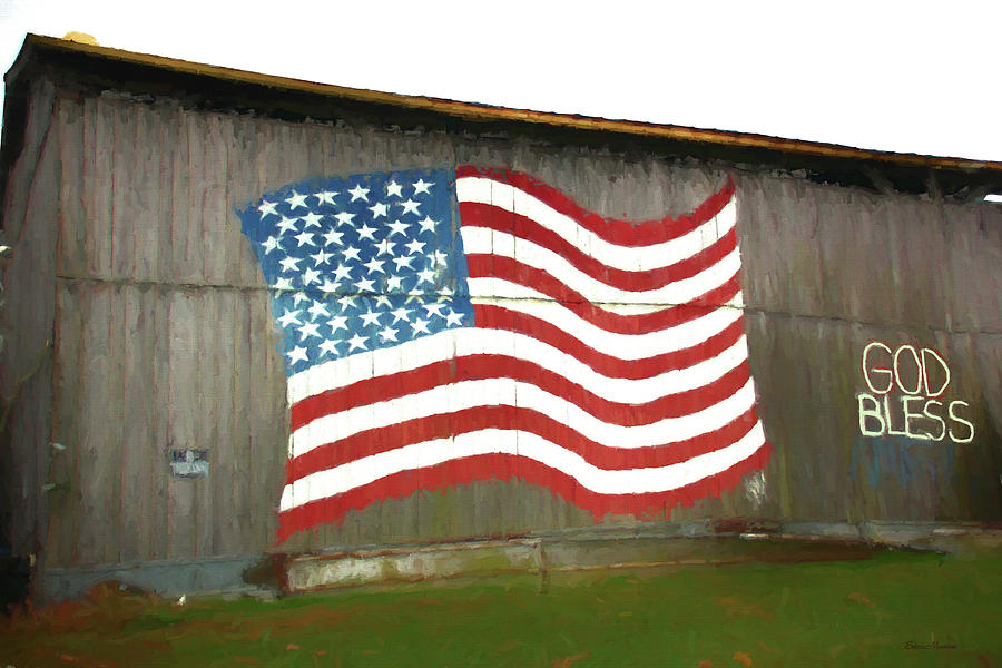 Barn Painting - Flag And Barn - Painting by Ericamaxine Price