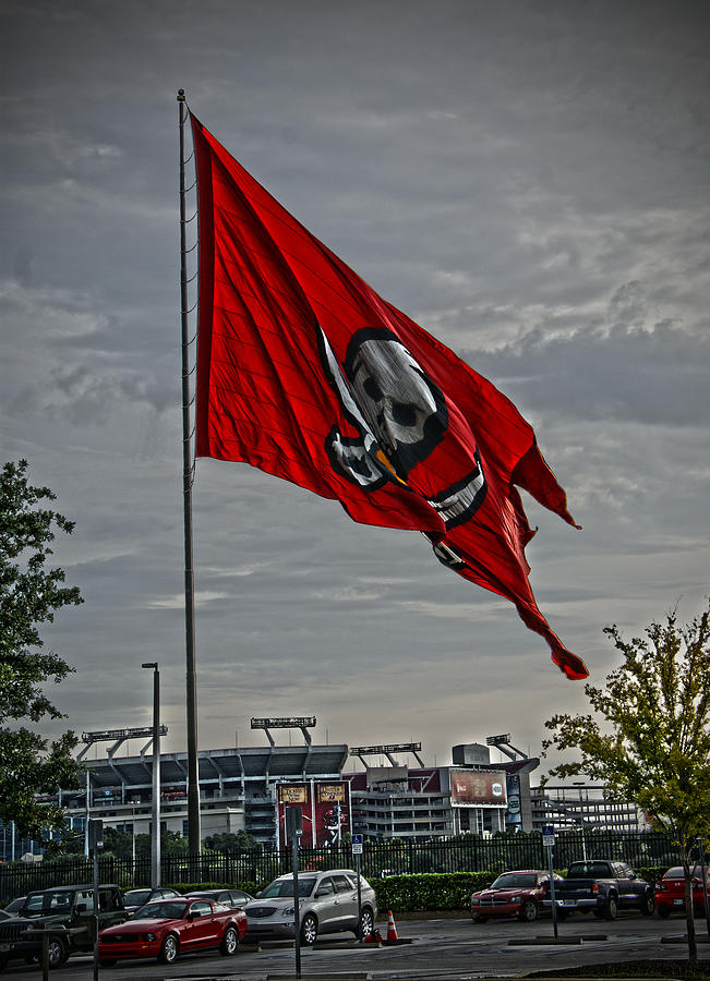 Bucs Photograph - Flag And Stadium by Chauncy Holmes