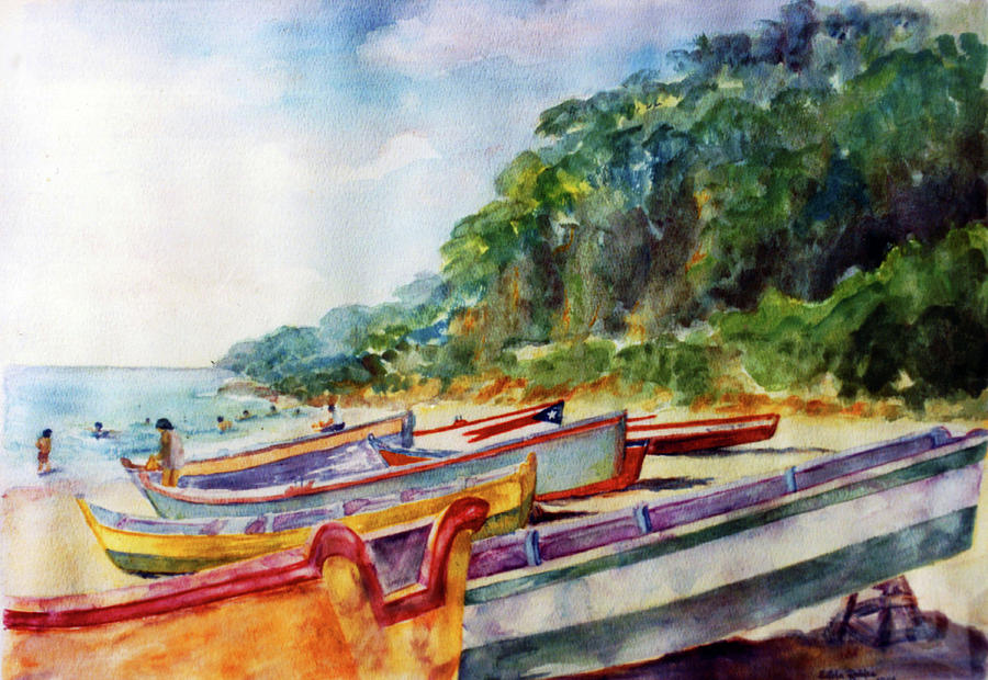 Watercolor Paintings Painting - Flag Boat Crashboat Beach by Estela Robles