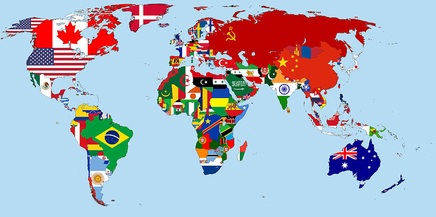 flag map of the world 1965 digital art by movie poster prints. Black Bedroom Furniture Sets. Home Design Ideas