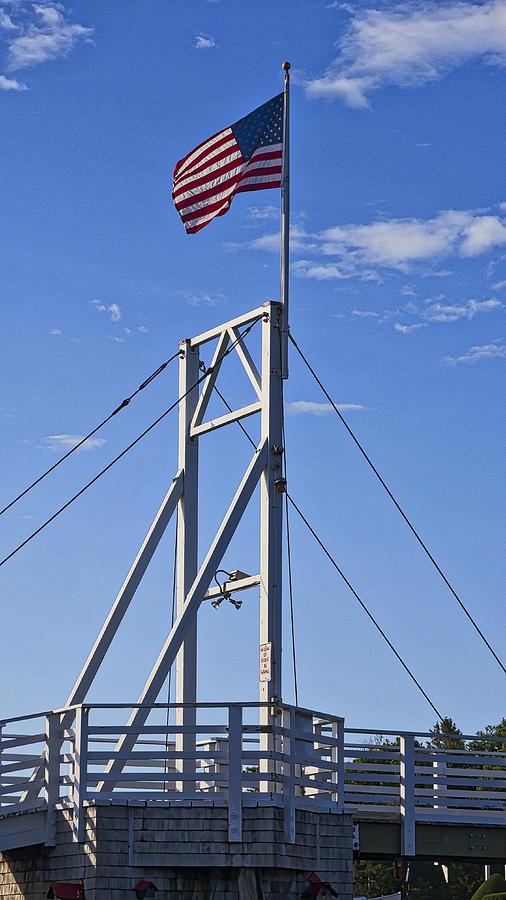 Cape Neddick Photograph - Flag On Perkins Cove Bridge - Maine by Steven Ralser