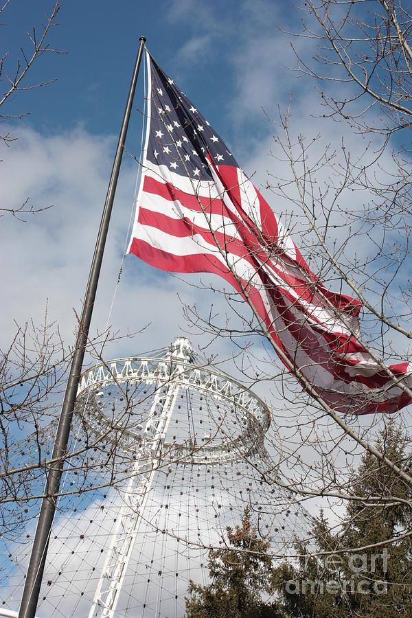 American Flag Photograph - Flag Over Spokane Pavilion by Carol Groenen