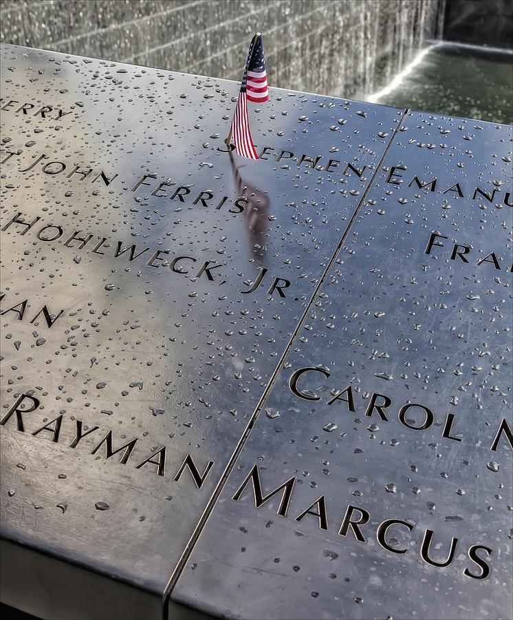 Flag Photograph - Flag World Trade Center Memorial July 4 2015 by Robert Ullmann