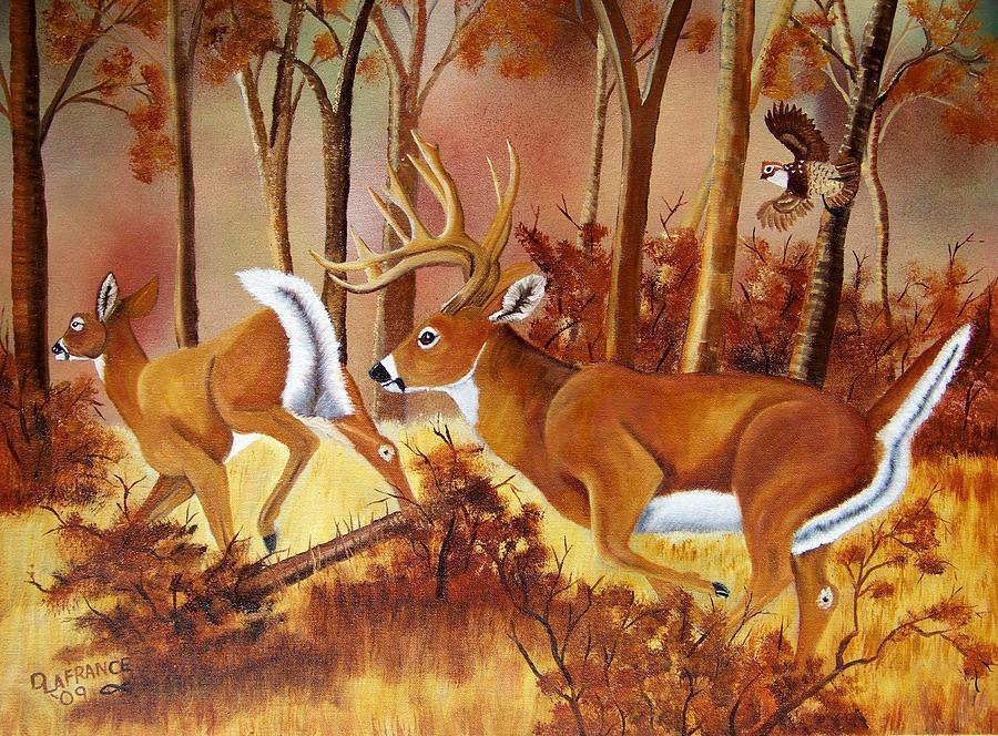 Deer Painting - Flagging Deer by Debbie LaFrance
