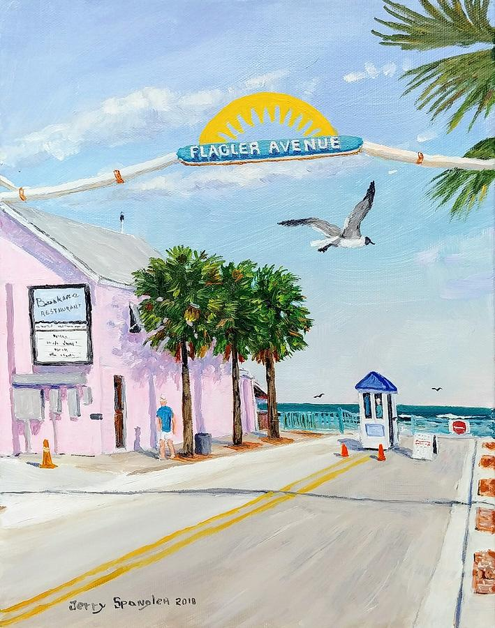 New Smyrna Beach Painting - Flagler Avenue by Jerry SPANGLER