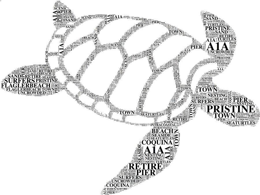 Typography Digital Art - Flagler Beach Word Art by Alice Gipson