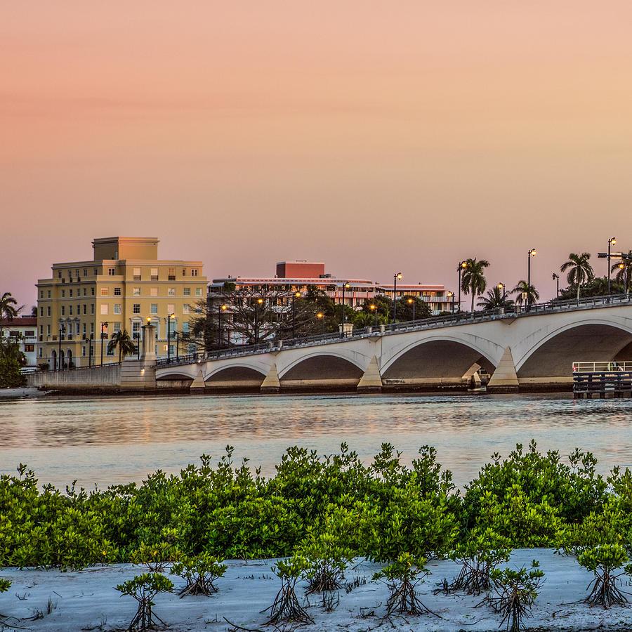 Boats Photograph - Flagler Bridge In The Evening I by Debra and Dave Vanderlaan