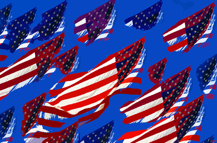 Artwork Painting - Flags American by David Lee Thompson