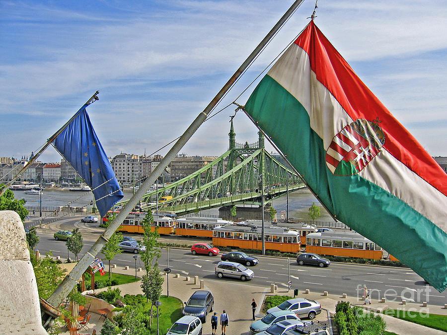 Hungary Photograph - Flags Over Budapest by Ann Horn
