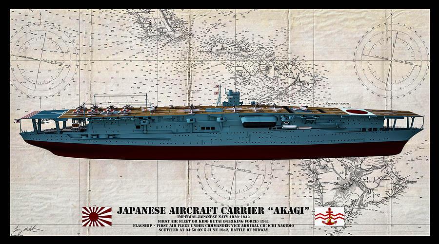Flagship Akagi Japanese Imperial Navy Oil Digital Art By