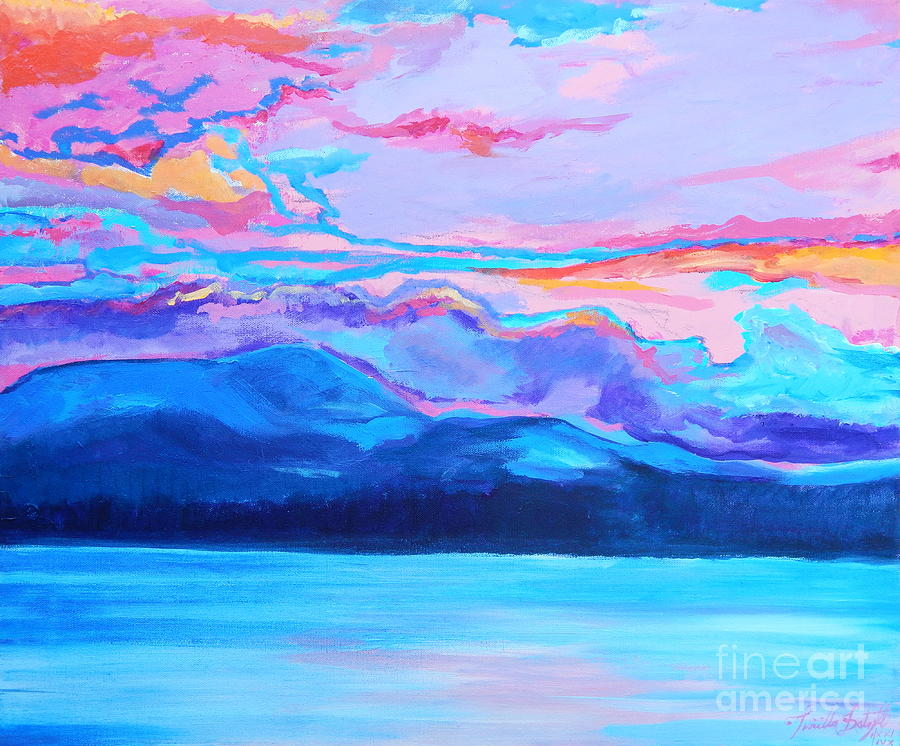 Flagstaff lake winter sunset Painting by Priscilla Batzell Expressionist Art Studio Gallery